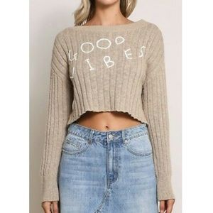 Mustard Seed Tan Good Vibes Cropped Ribbed Sweater
